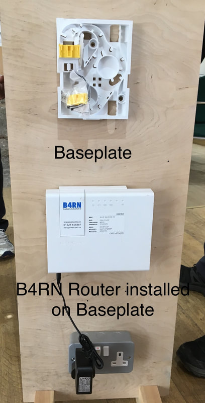 Another picture showing the initial baseplate on the internal wall and then the final router on top. It takes up less space on your wall than a BT Optical Network Connector and Hub. Fact!